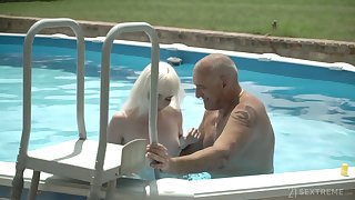 Pale appealing cookie with small tits Miss Melissa rides older neighbor on top