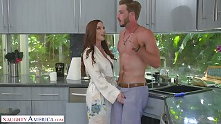 Scrumptious red haired mommy Diamond Foxxx seduces drawing stepson