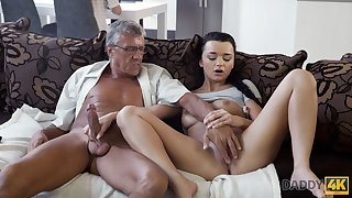 DADDY4K. Erica Black has wild mating with BFs daddy behind