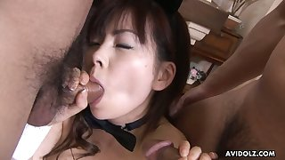 Delicious hairy off with of Ran Monbu is fucked and filled with cum