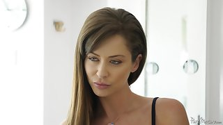 After a blowjob Emily Addison sits out of reach of a friend's hard load of shit out of reach of the sofa